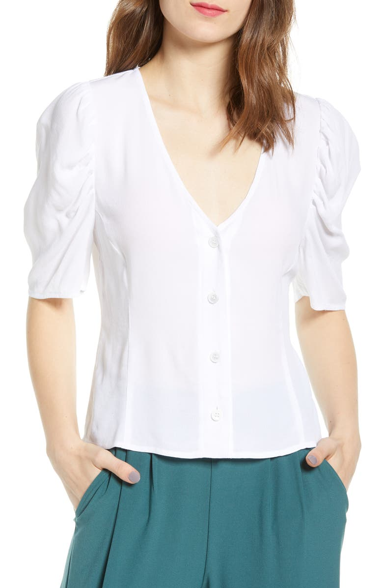 LEITH Puff Sleeve Button Front Top, Main, color, WHITE