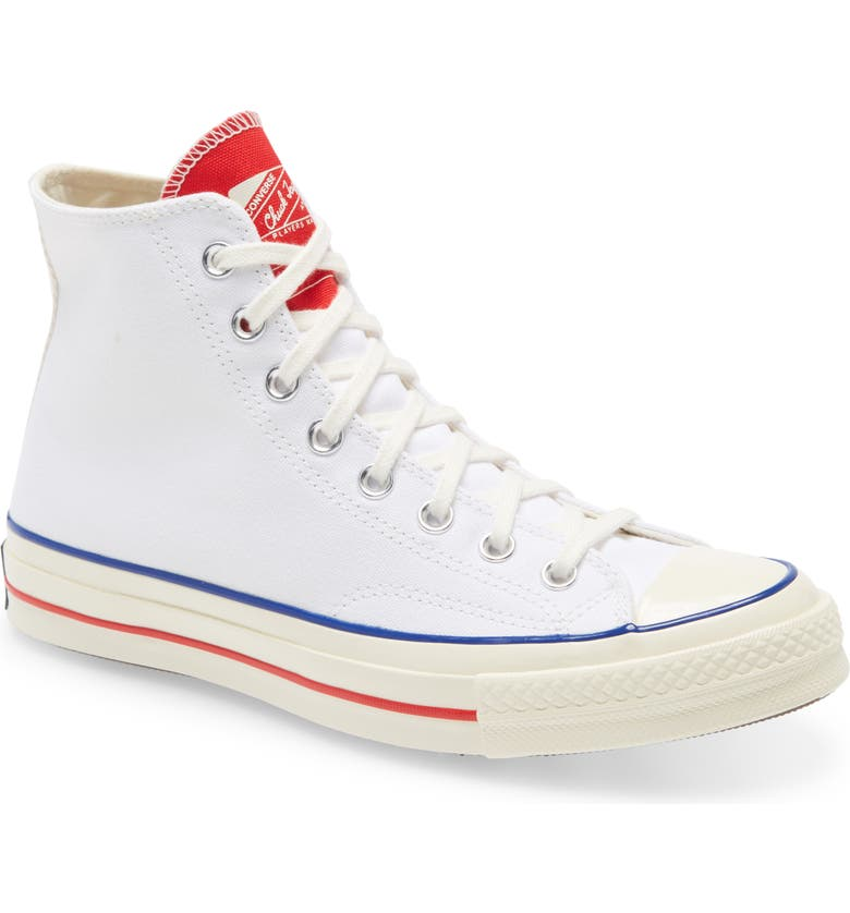 CONVERSE Chuck Taylor<sup>®</sup> Twist Tongue High Top Sneaker, Main, color, WHITE/ UNIVERSITY RED/ EGRET