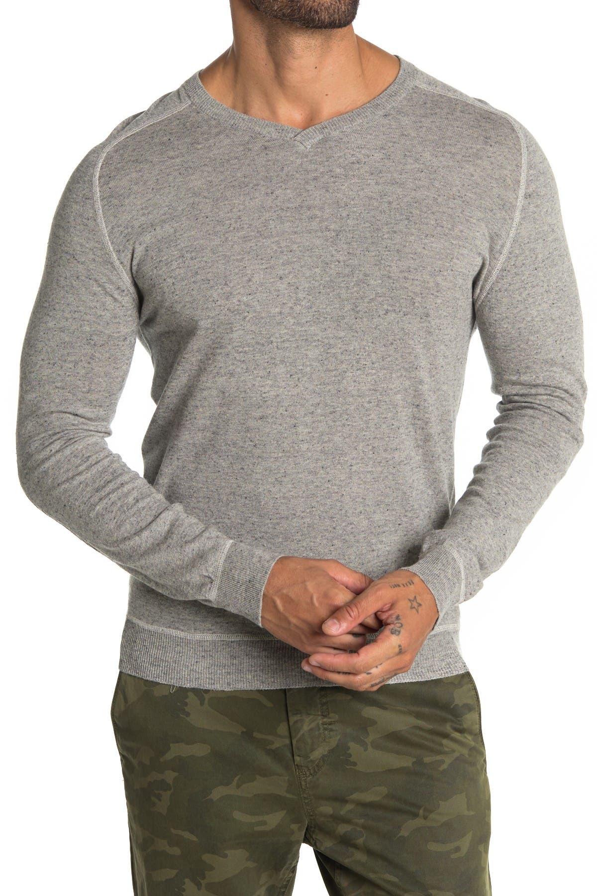 Image of Billy Reid Contrast Stitch V-Neck Sweater