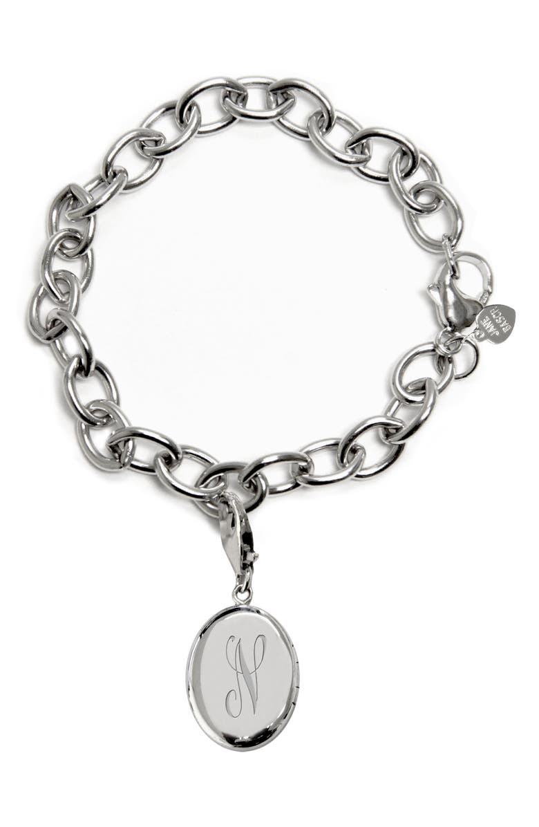 JANE BASCH DESIGNS Jane Basch Initial Locket Chain Link Bracelet, Main, color, SILVER-N