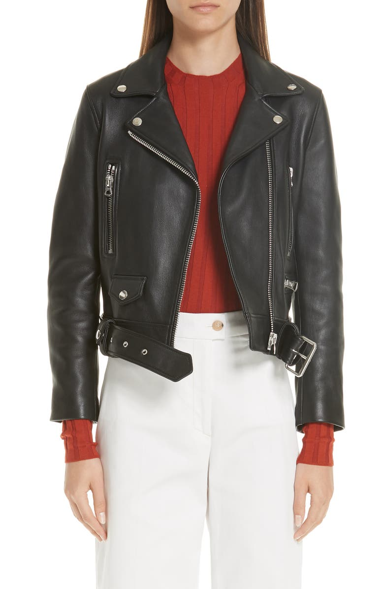 ACNE STUDIOS Mock Core Leather Moto Jacket, Main, color, BLACK