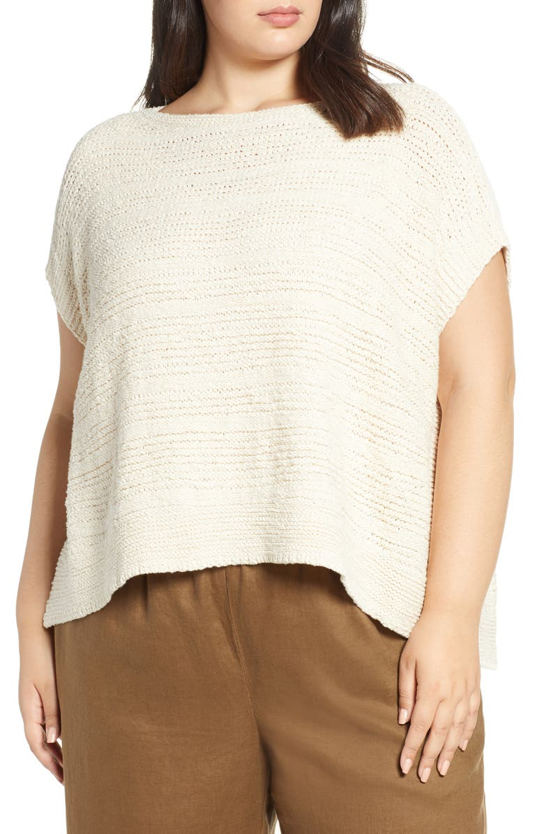 EILEEN FISHER Bateau Neck Knit Organic Cotton Top, Main, color, 103