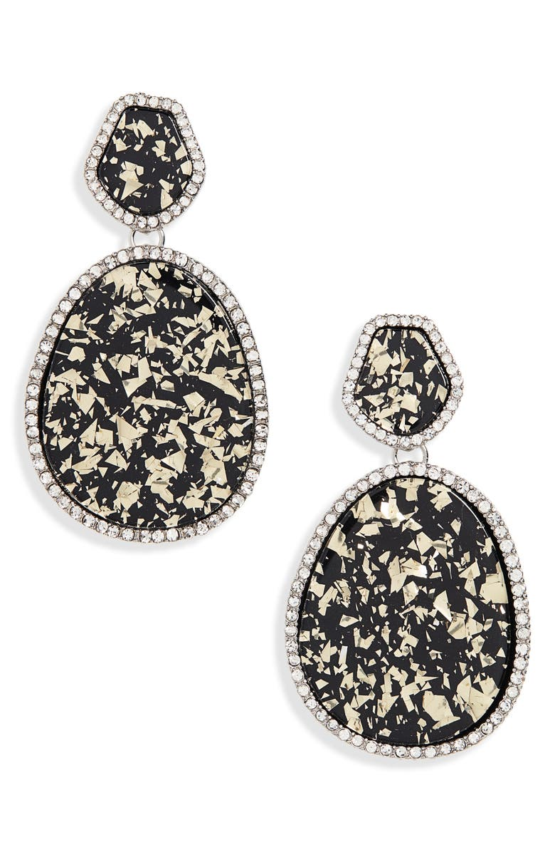 HALOGEN<SUP>®</SUP> Pave Edge Drop Earrings, Main, color, CLEAR- BLACK- GOLD