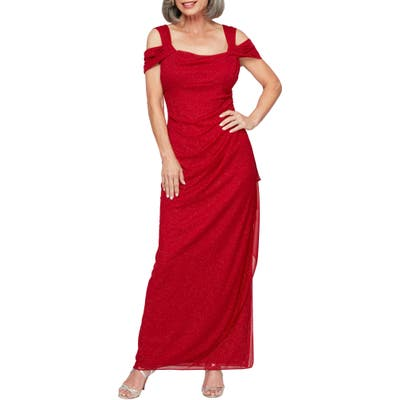 Alex Evenings Cold Shoulder Chiffon Gown, Red