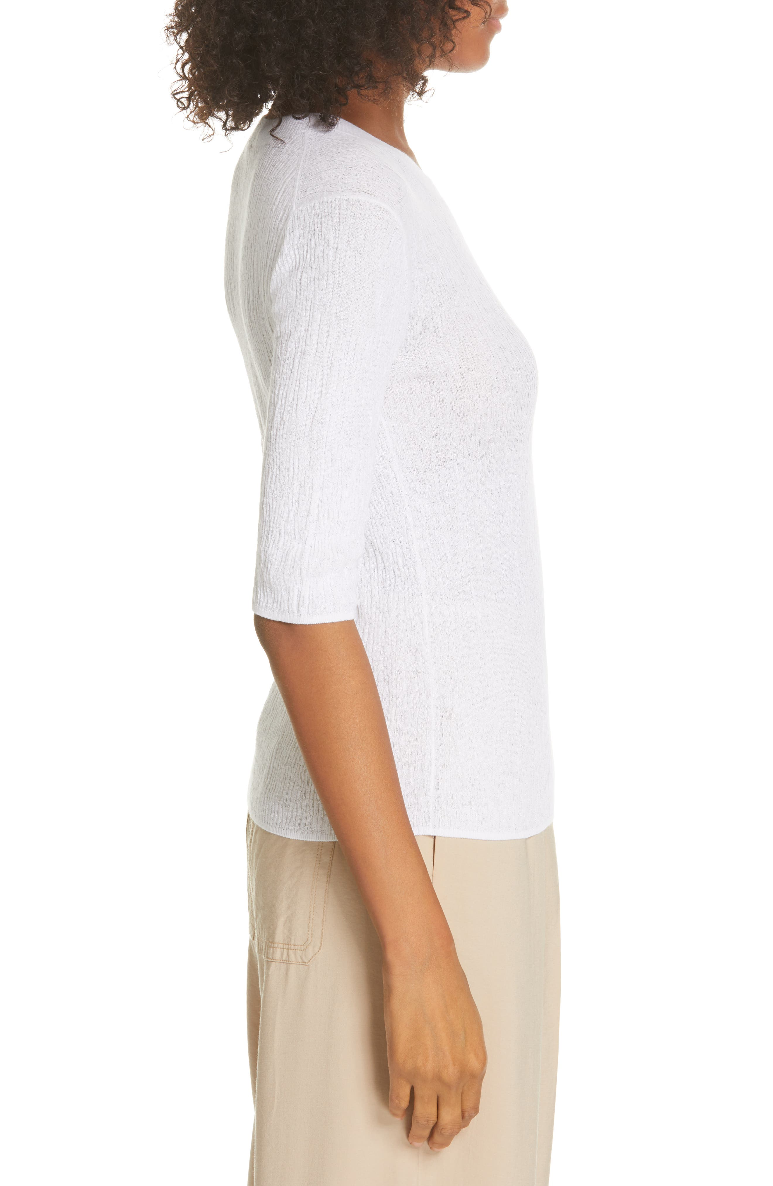 ,                             Broomstick Pleat Cotton Top,                             Alternate thumbnail 3, color,                             OPTIC WHITE