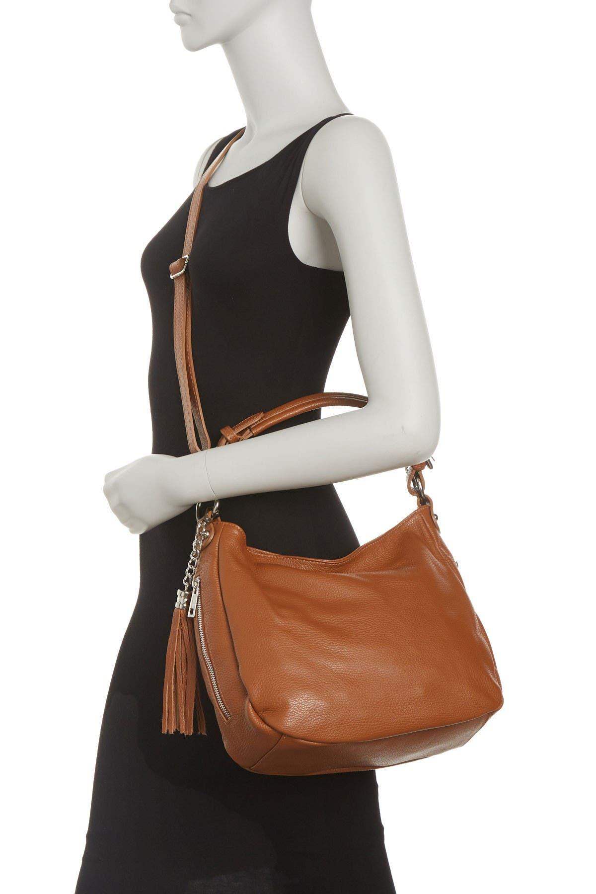 Image of Anna Luchini Pebbled Leather Hobo Bag