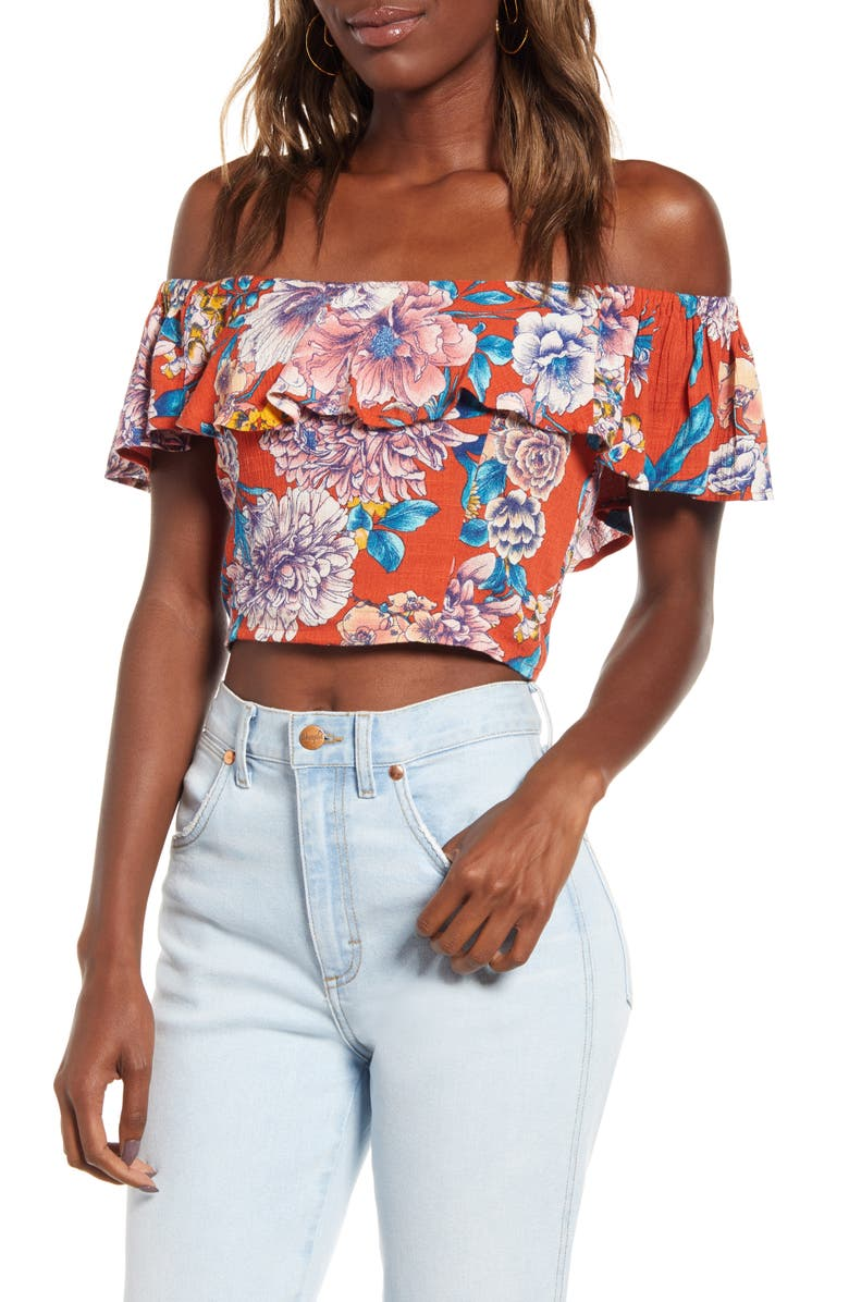 BAND OF GYPSIES Camellia Off the Shoulder Crop Top, Main, color, RUST BLUSH
