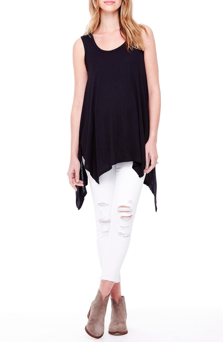 INGRID & ISABEL<SUP>®</SUP> Ingrid & Isabel Handkerchief Hem Maternity Tank, Main, color, JET BLACK