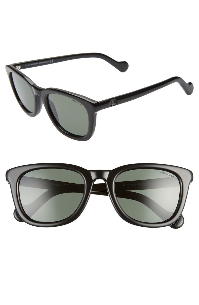 MONCLER 54mm Sunglasses, Main, color, SHINY BLACK/ GREEN