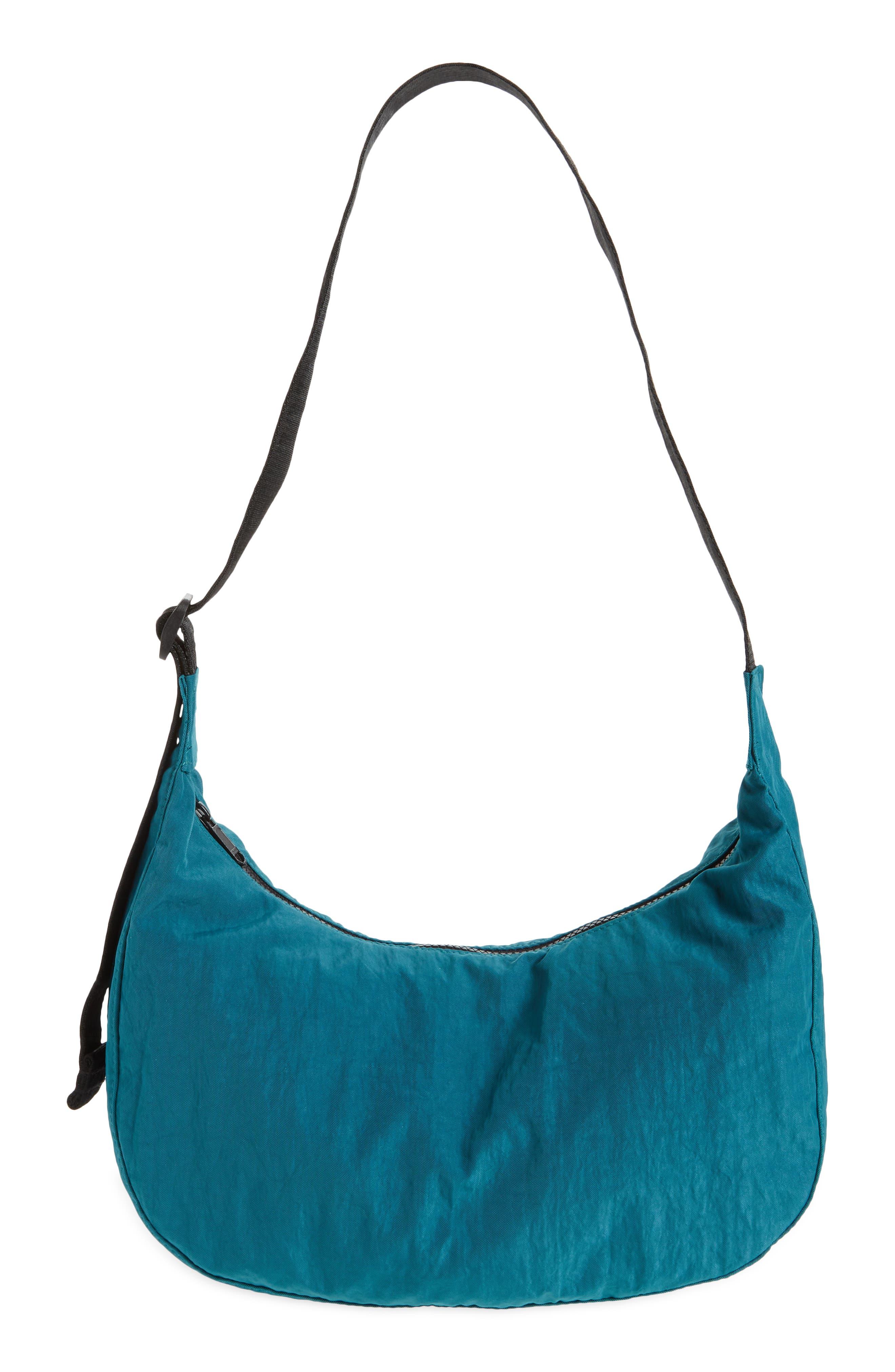 Medium Crescent Nylon Canvas Shoulder Bag