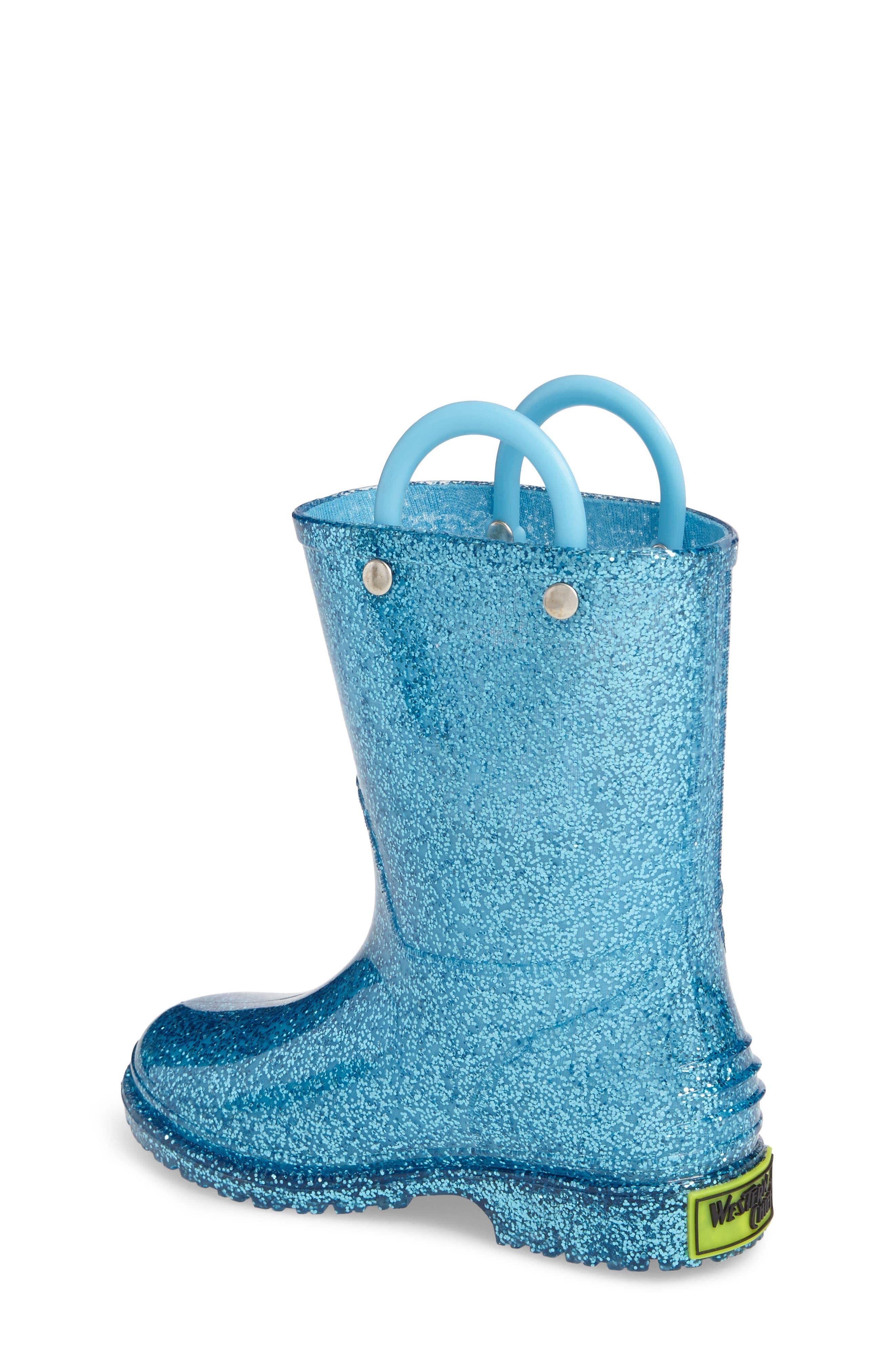 ,                             Glitter Waterproof Rain Boot,                             Alternate thumbnail 2, color,                             TURQUOISE