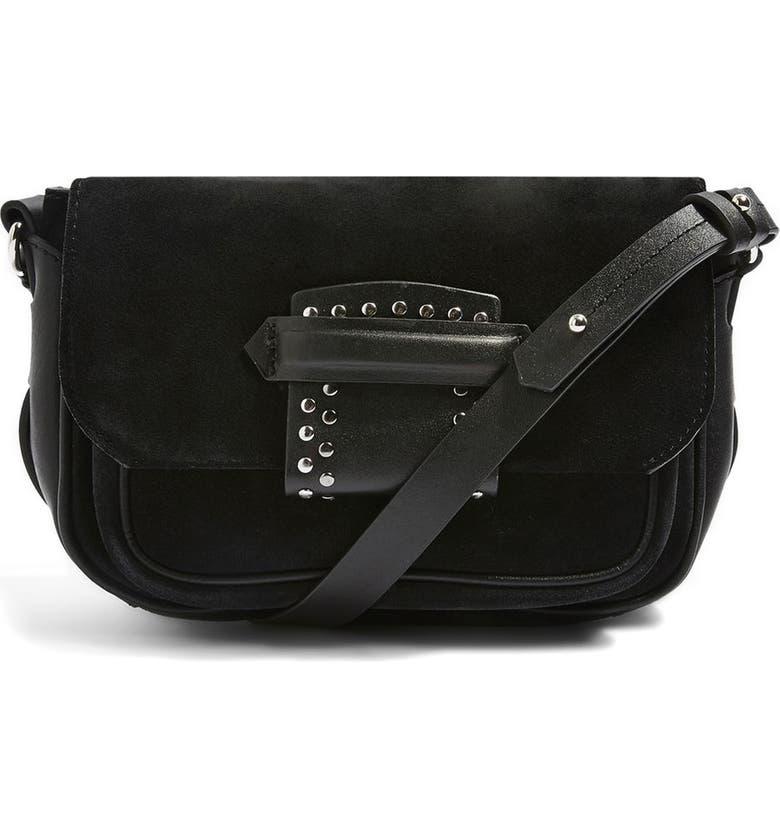 TOPSHOP Premium Leather & Suede Crossbody Bag, Main, color, 001