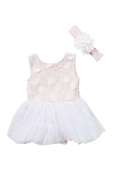Image of Popatu Stripe Mini Flower Tutu Dress & Headband Set
