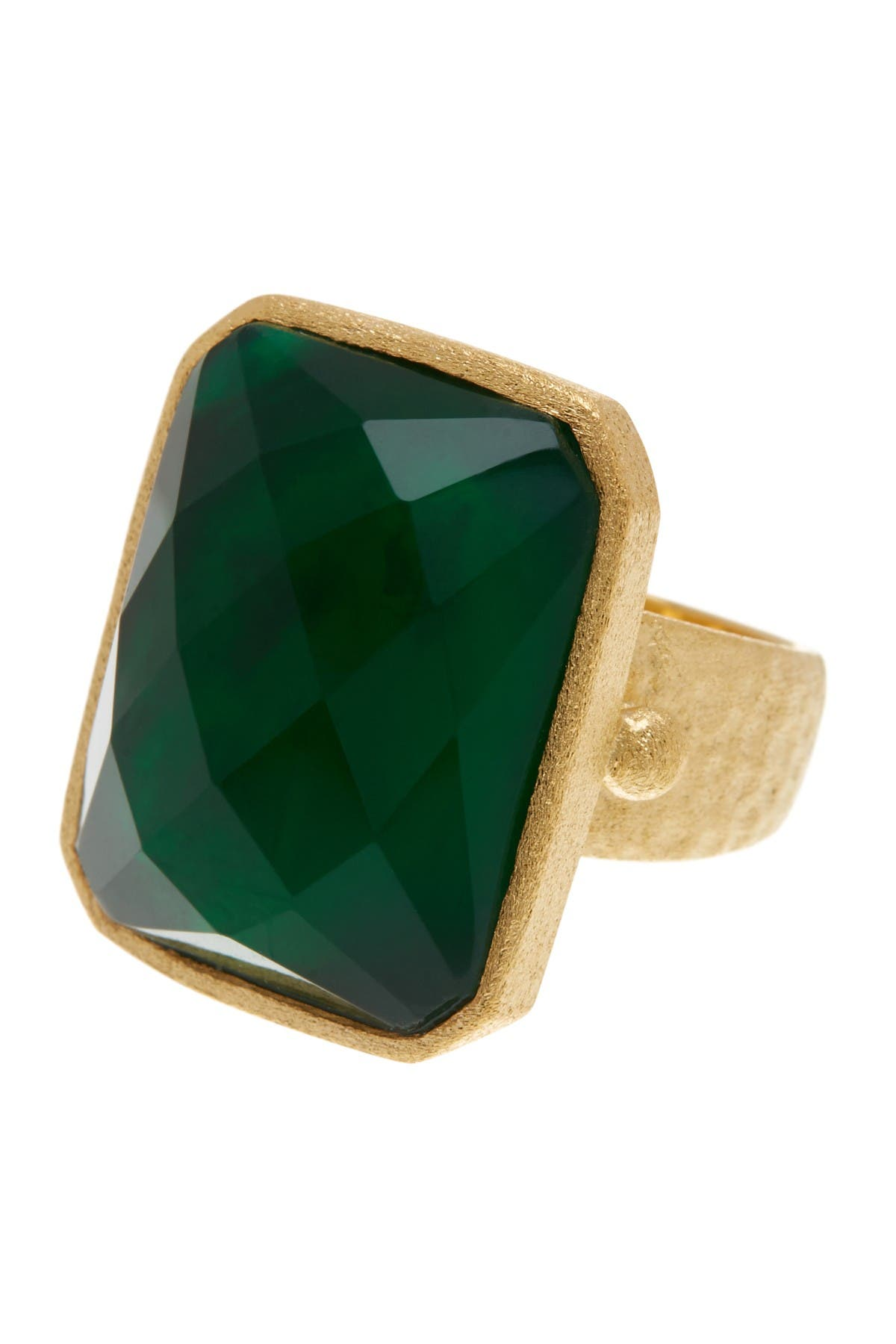 Image of Rivka Friedman 18K Gold Clad Faceted Emerald Crystal Doublet Rectangle Hammered Satin Ring