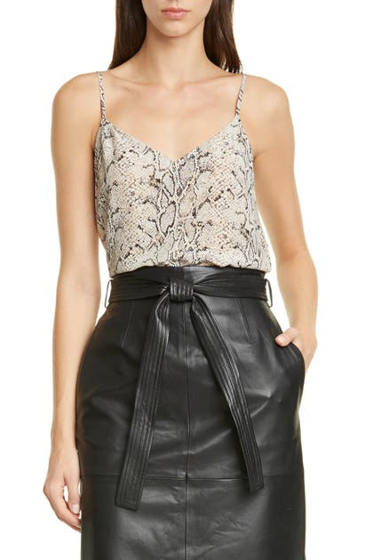 Equipment Tops LAYLA SNAKESKIN PRINT SILK CAMISOLE