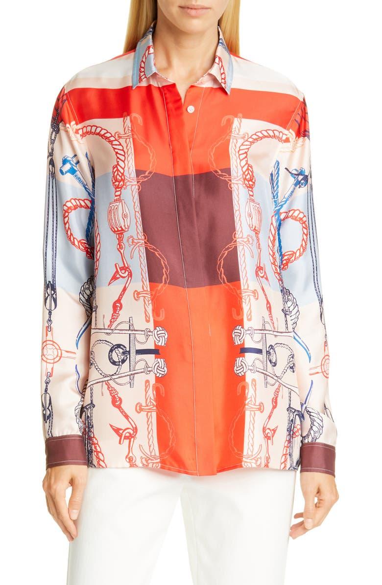 ST. JOHN COLLECTION Mariner Scarf Print Silk Twill Shirt, Main, color, GERANIUM
