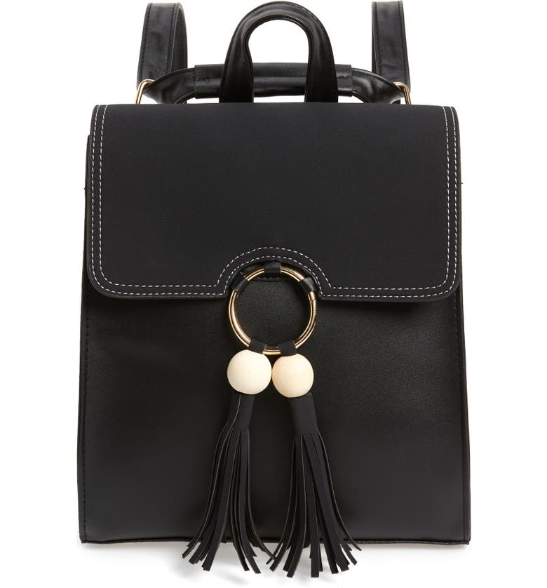 KNOTTY Beaded Tassel Faux Leather Backpack, Main, color, BLACK