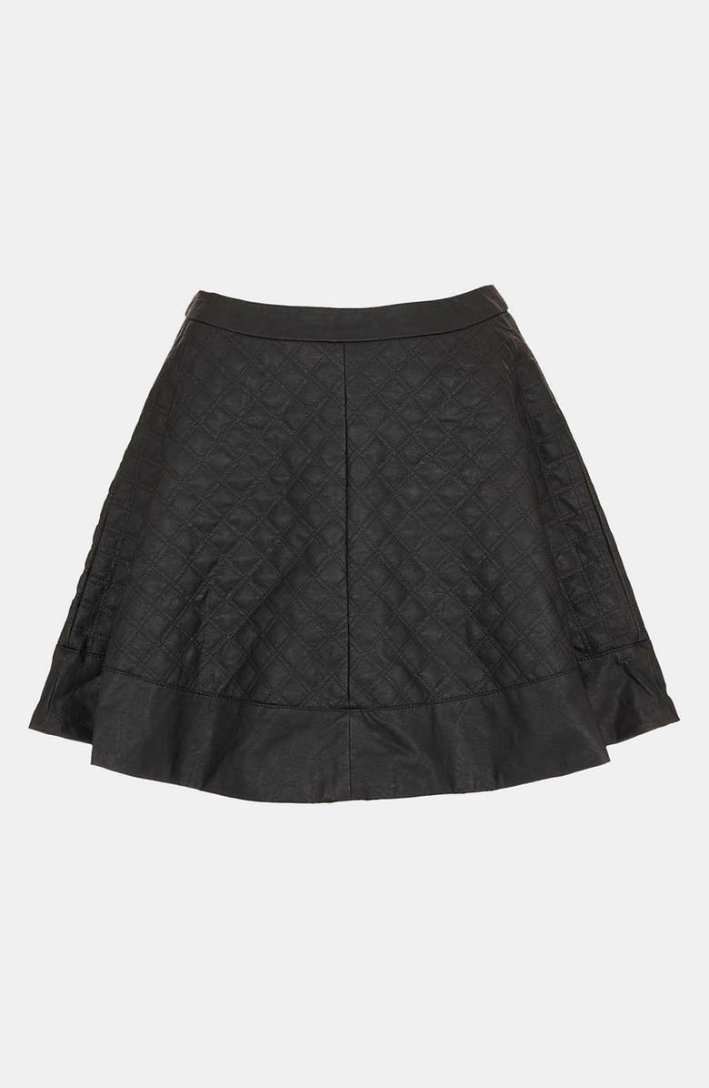 TOPSHOP Quilted Faux Leather Skater Skirt, Main, color, 001