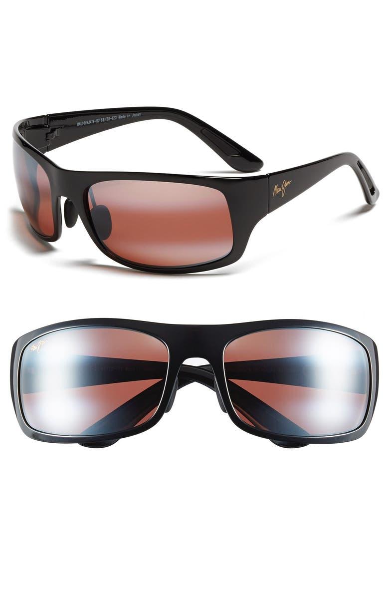 MAUI JIM 'Haleakala - 66mm PolarizedPlus<sup>®</sup>2' Polarized Wrap Sunglasses, Main, color, GLOSS BLACK/ MAUI ROSE