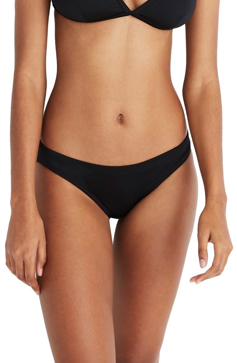 MADEWELL Second Wave Hipster Bikini Bottom, Main, color, TRUE BLACK