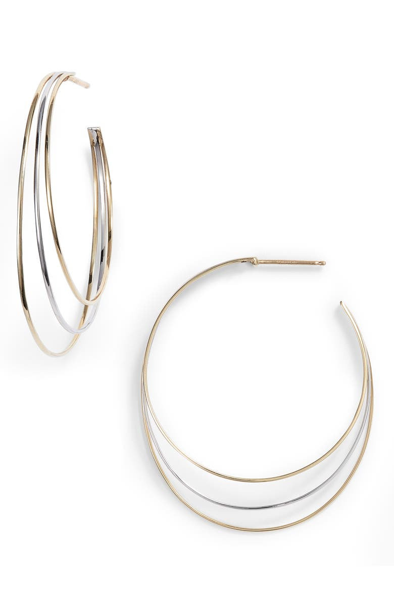 BONY LEVY Large Triple Hoop Earrings, Main, color, YELLOW GOLD/ WHITE GOLD