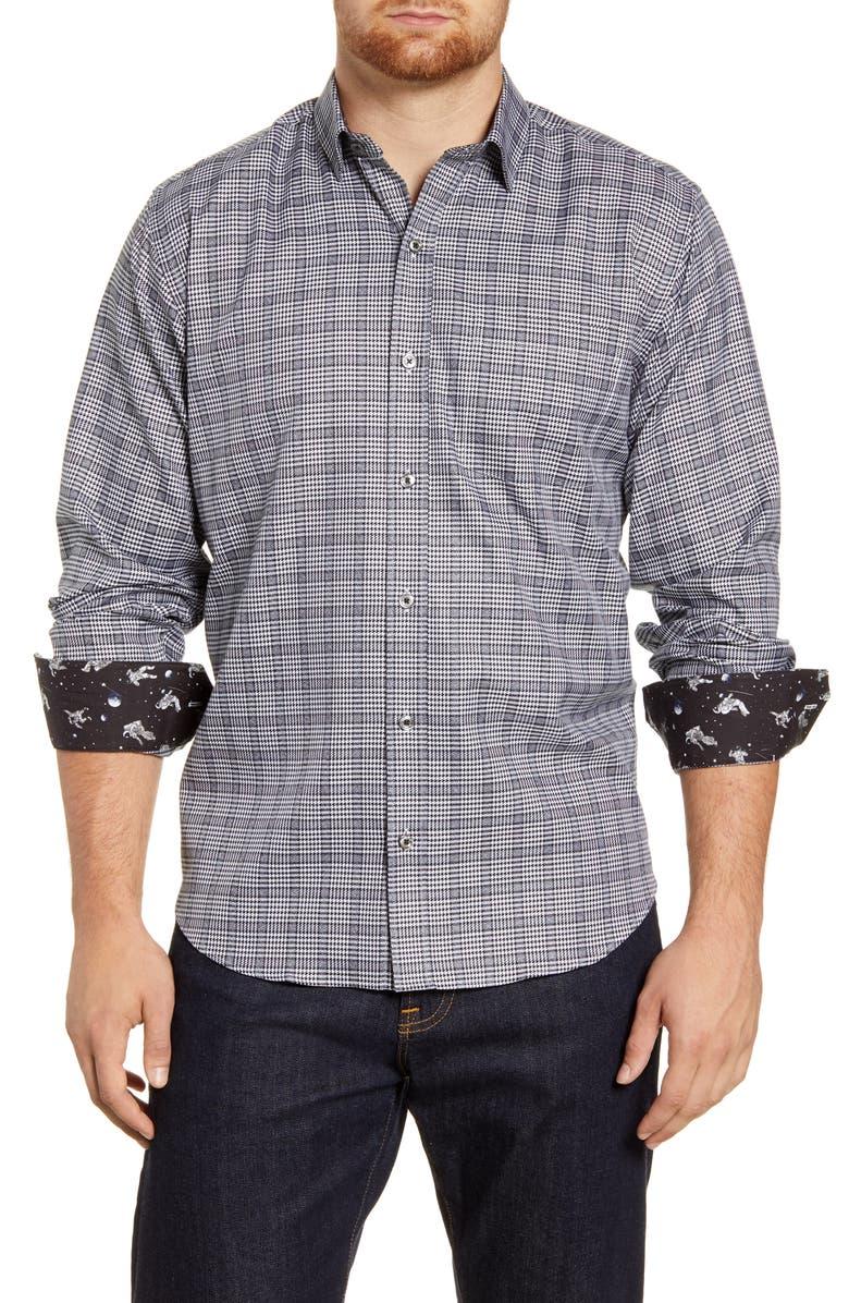 BUGATCHI Classic Fit Check Shirt, Main, color, BLACK