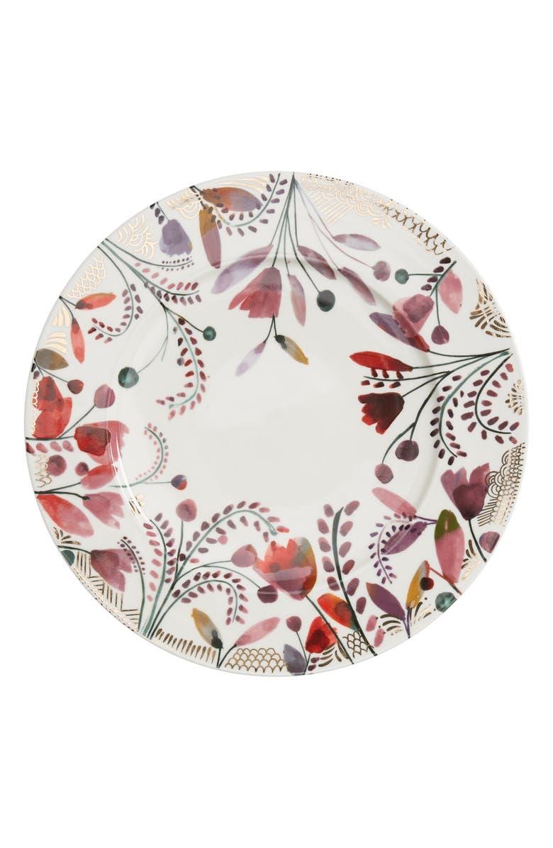 ANTHROPOLOGIE Pheasant Moths Set of 4 Dinner Plates, Main, color, WHITE