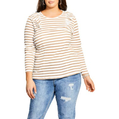 Plus Size City Chic Nautical Ruffle Long Sleeve Tee, Ivory