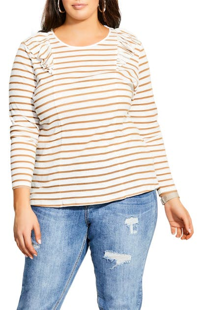 City Chic NAUTICAL RUFFLE LONG SLEEVE TEE