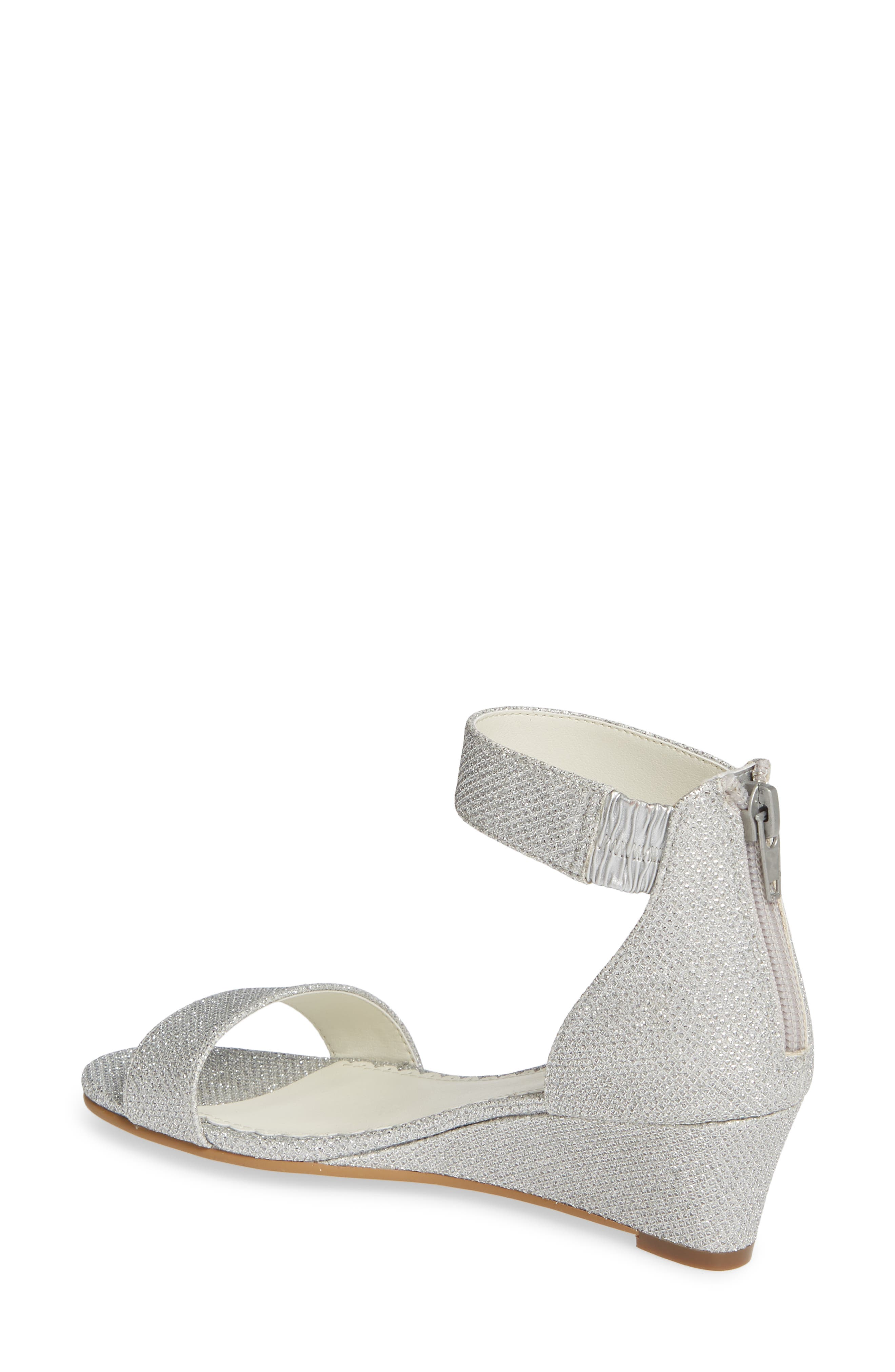 ,                             Cora Glitter Wedge Sandal,                             Alternate thumbnail 2, color,                             SILVER SHIMMER FAUX LEATHER