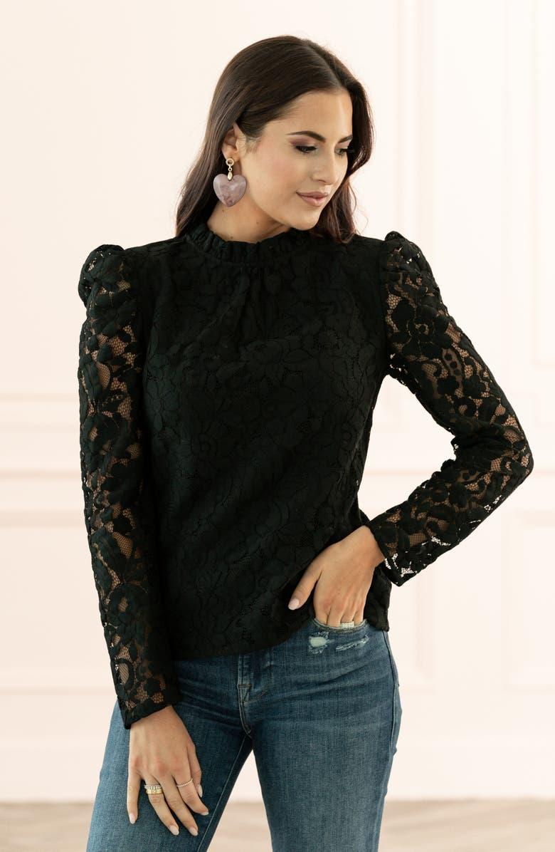 RACHEL PARCELL Ruffle Neck Lace Top, Main, color, BLACK