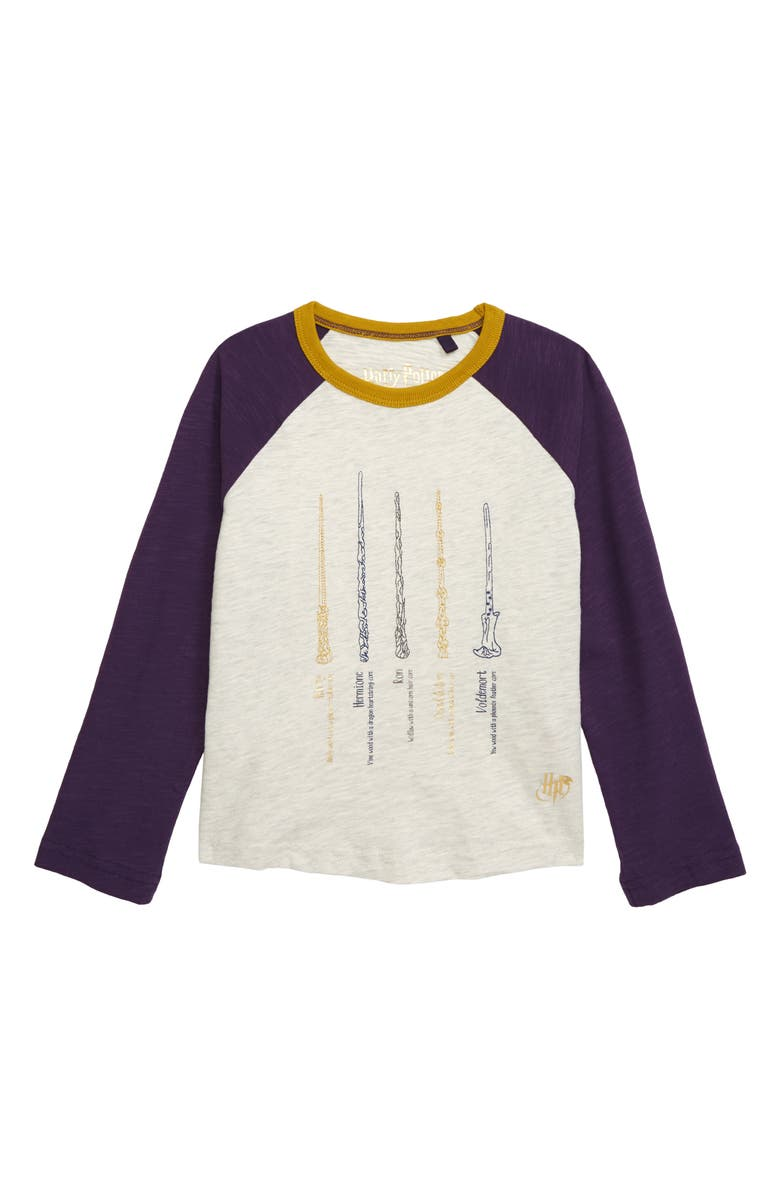 MINI BODEN Harry Potter Embroidered Wand Baseball T-Shirt, Main, color, OATMEAL MARL