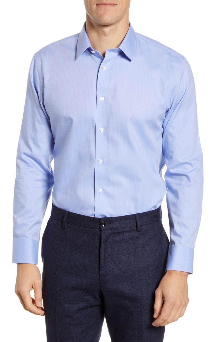 THE TIE BAR Trim Fit Dobby Dot Dress Shirt, Main, color, BLUE