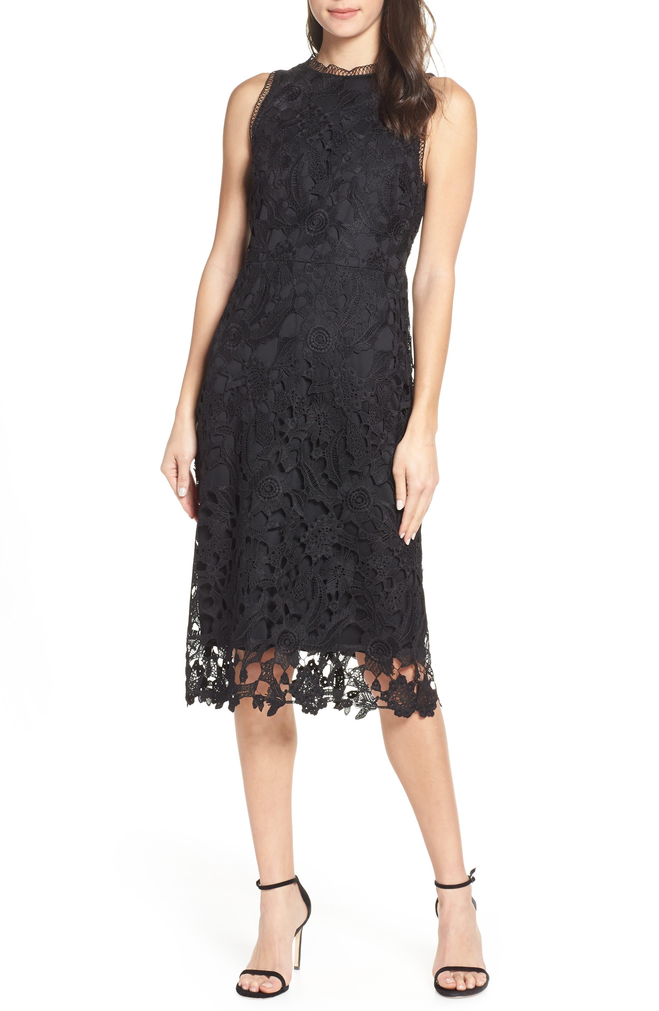 Sam Edelman Lace Midi Dress, Black