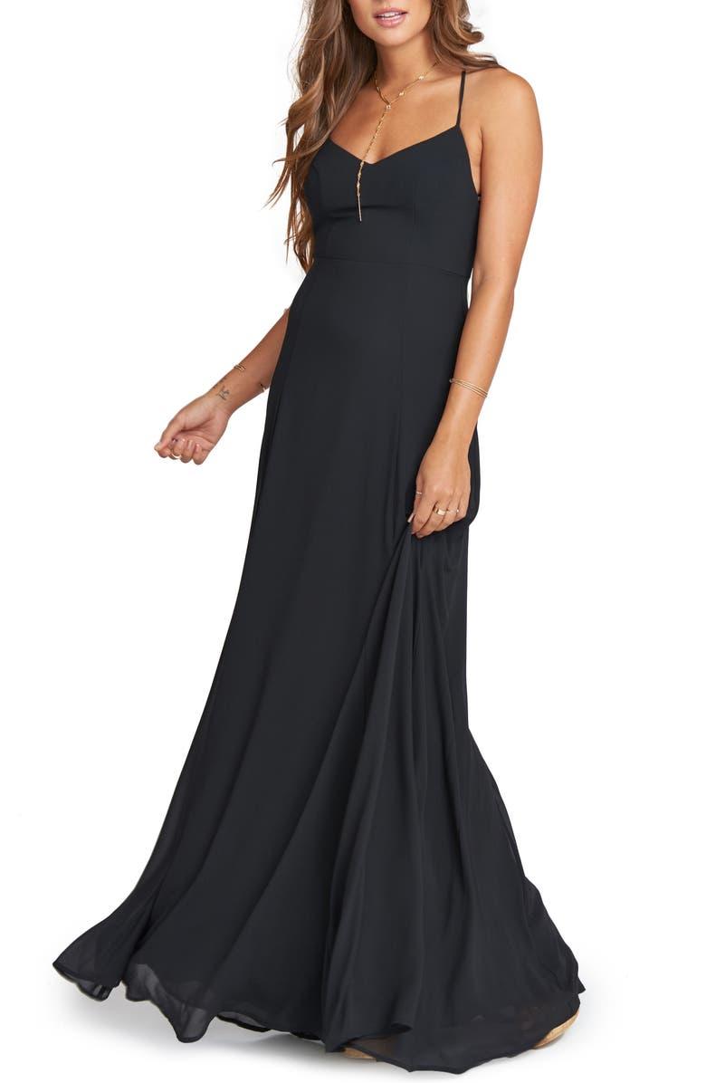 SHOW ME YOUR MUMU Godshaw Chiffon Gown, Main, color, BLACK CHIFFON