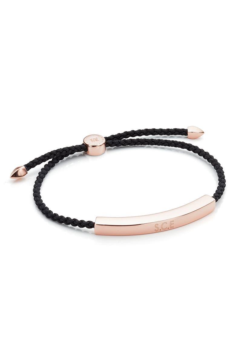 MONICA VINADER Engravable Men's Friendship Bracelet, Main, color, BLACK/ ROSE GOLD