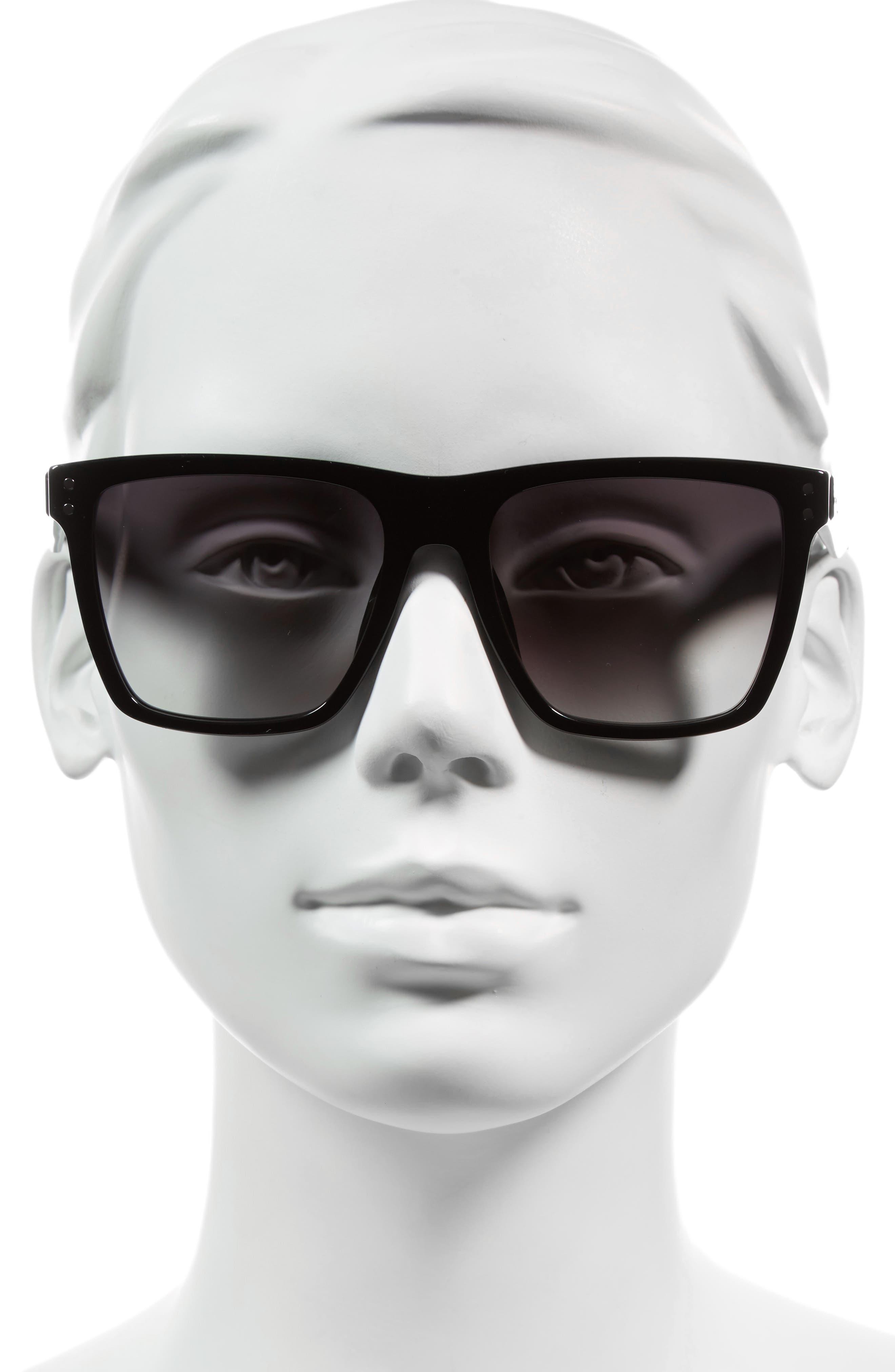 ,                             54mm Flat Top Gradient Square Frame Sunglasses,                             Alternate thumbnail 3, color,                             001