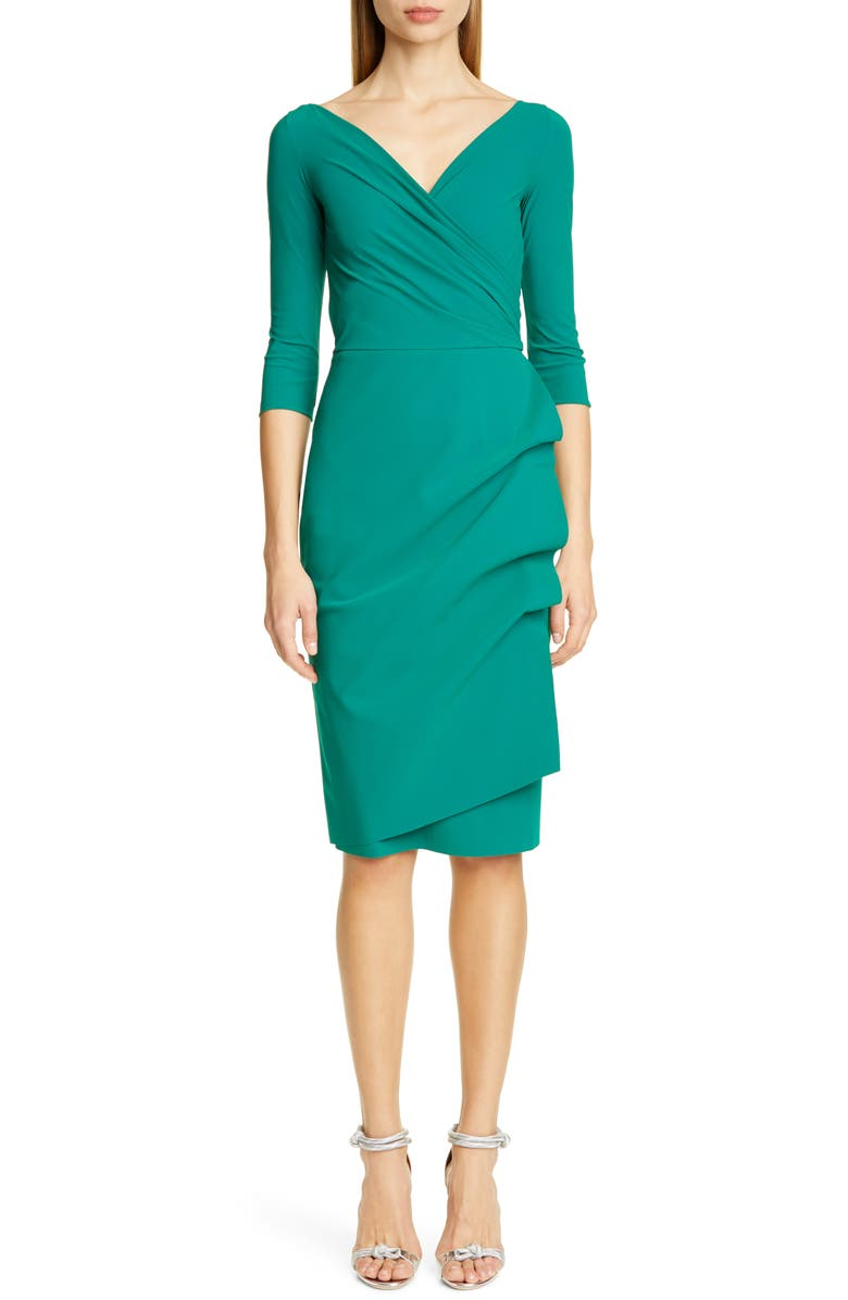CHIARA BONI LA PETITE ROBE Florien Ruched Cocktail Dress, Main, color, JADE