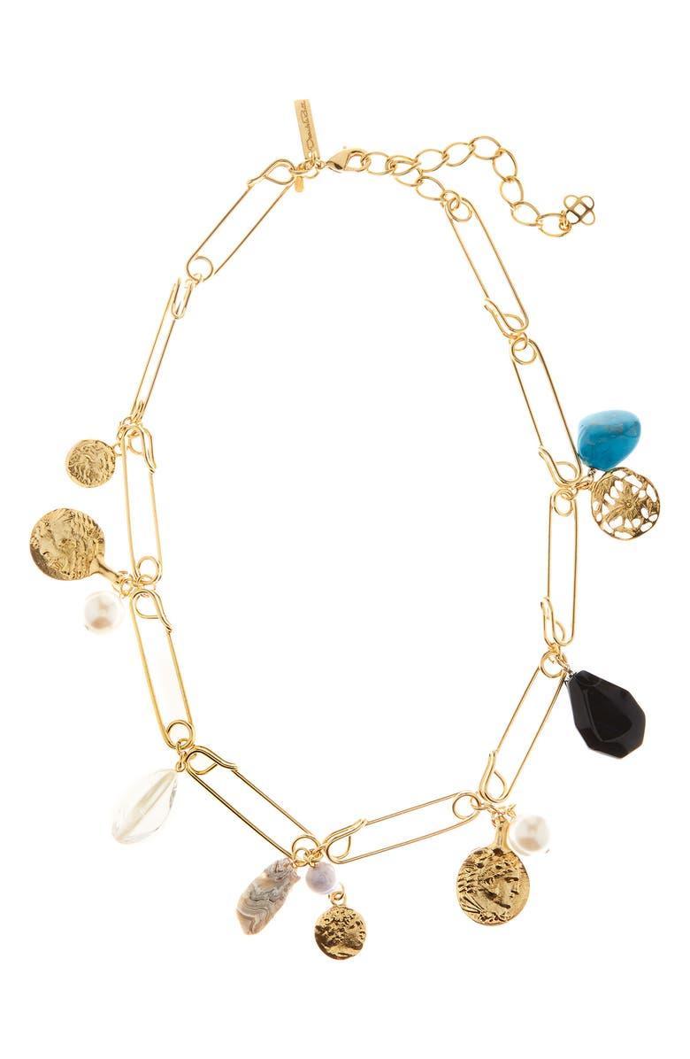 OSCAR DE LA RENTA Antique Pin Charm Necklace, Main, color, GOLD