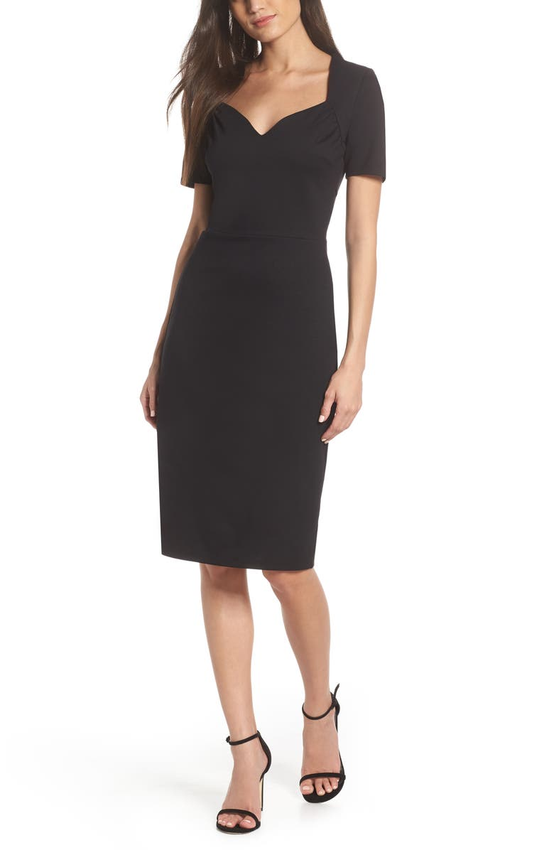FRAICHE BY J Sweetheart Pencil Dress, Main, color, BLACK