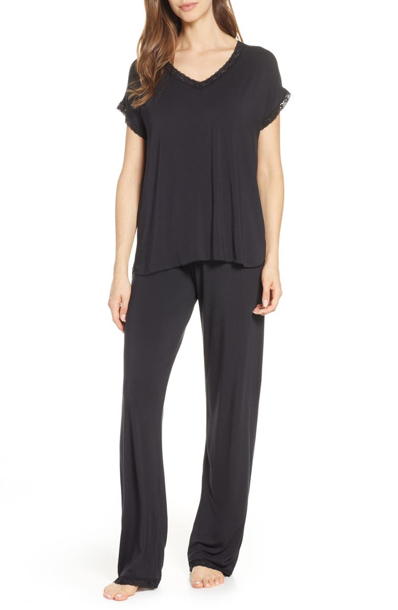 BAREFOOT DREAMS<SUP>®</SUP> Luxe Jersey Pajamas, Main, color, BLACK