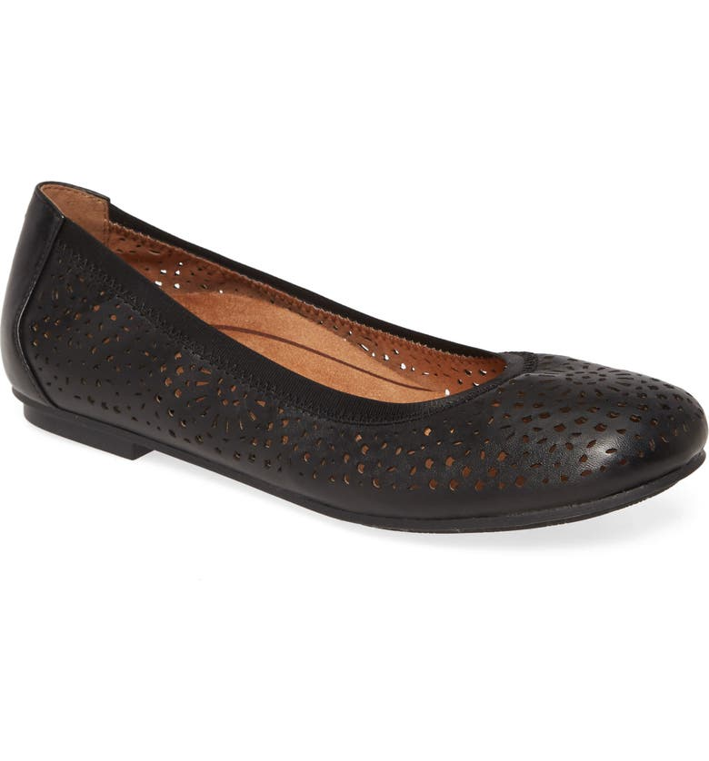 VIONIC Robyn Flat, Main, color, BLACK LEATHER