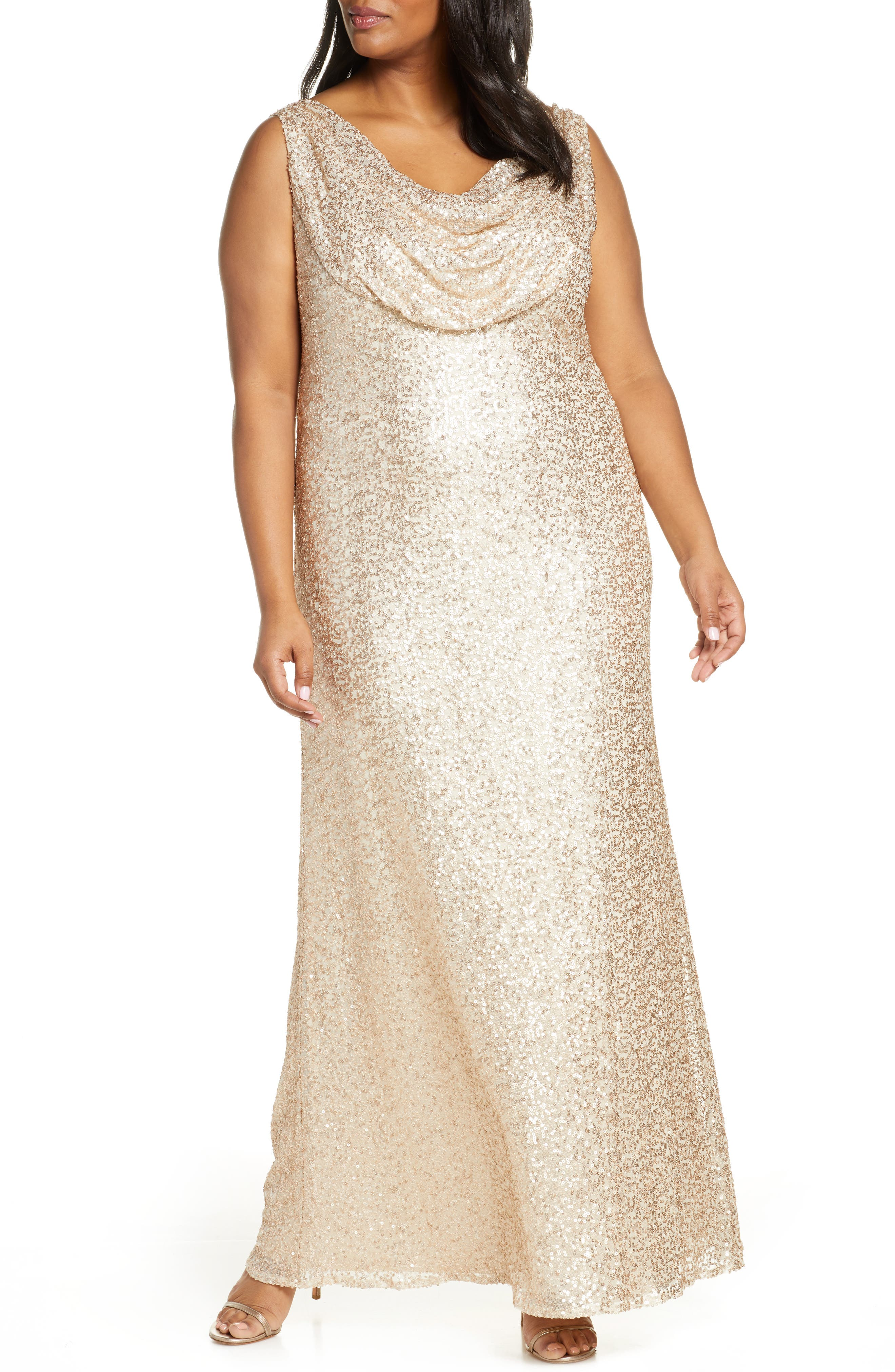 70s Prom, Formal, Evening, Party Dresses Plus Size Womens Vince Camuto Cowl Neck Sequin Gown $268.00 AT vintagedancer.com