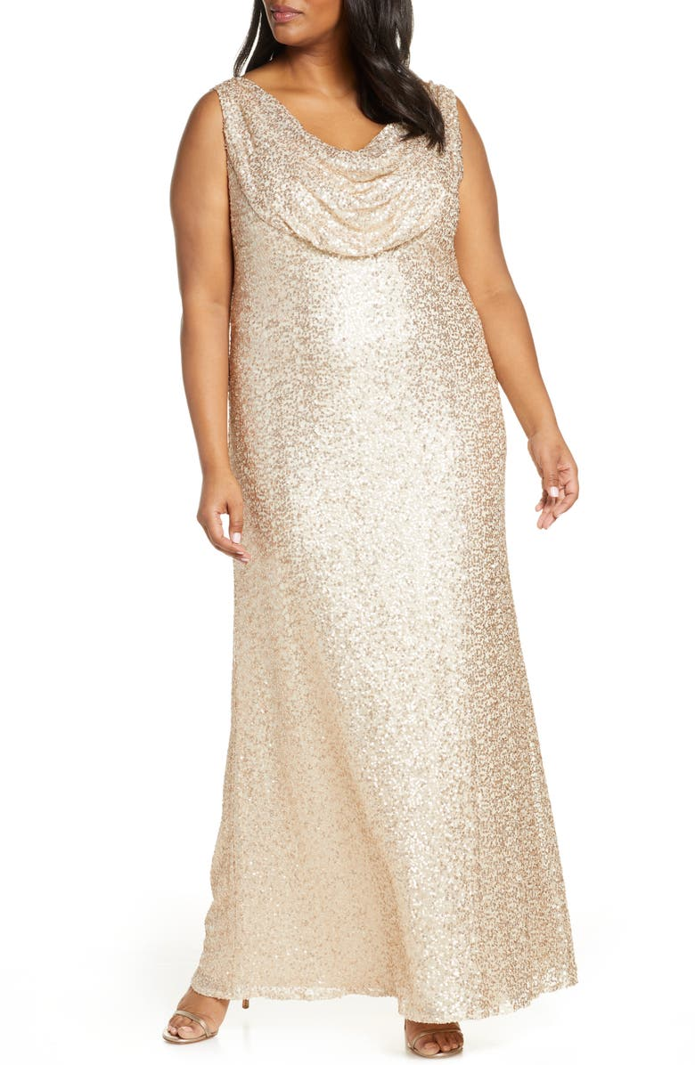 VINCE CAMUTO Cowl Neck Sequin Gown, Main, color, CHAMPAGNE