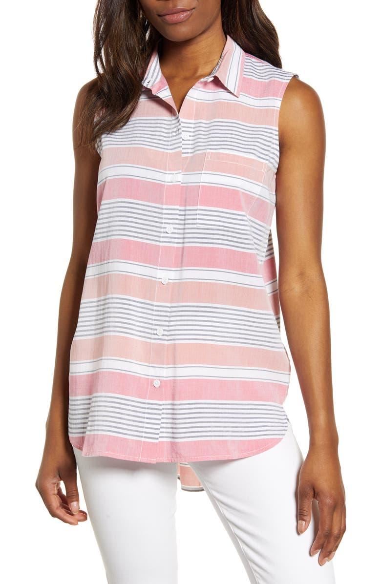 BEACHLUNCHLOUNGE Ana Sleeveless Stripe Shirt, Main, color, SORBET