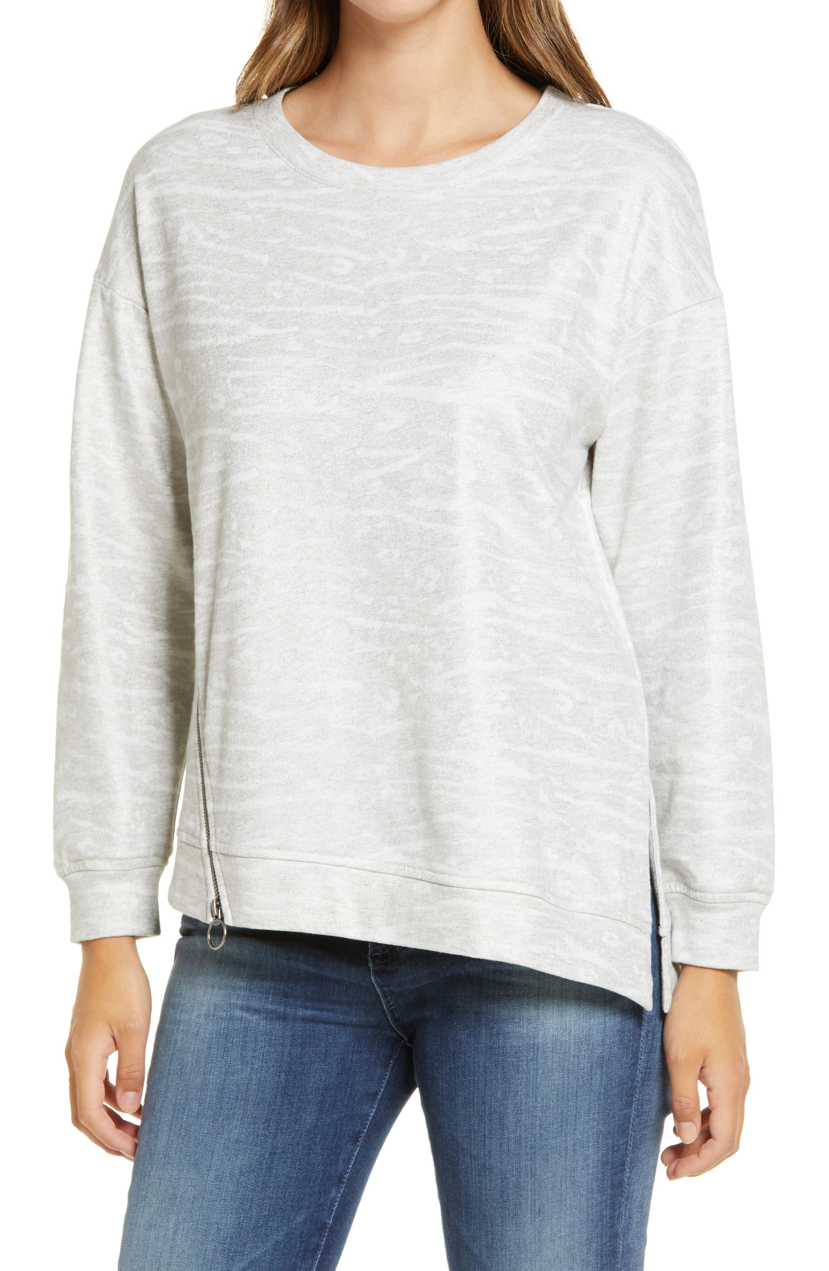 Shimmering animal stripes enliven this slouchy pullover framed by dropped-shoulder sleeves. Style Name: Wit & Wisdom Animal Foil Print Sweatshirt (Nordstrom Exclusive). Style Number: 6112794. Available in stores.