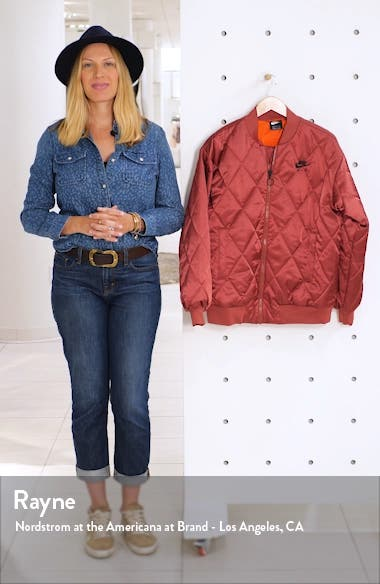 Logo Diamond Quilted Satin Jacket, sales video thumbnail