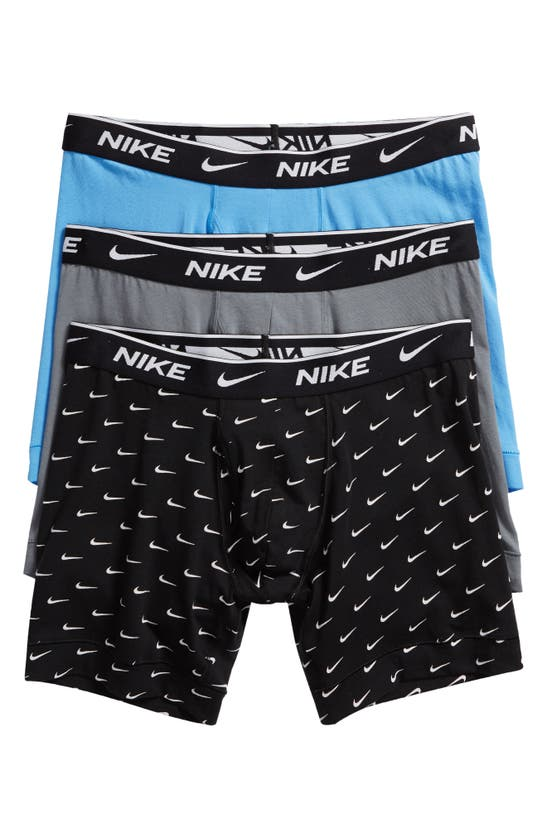 Nike Dri-fit Everyday Assorted 3-pack Performance Boxer Briefs In Swoosh/ Grey/ Blue