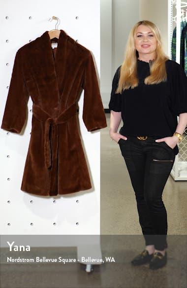 Belted Faux Fur Long Coat, sales video thumbnail