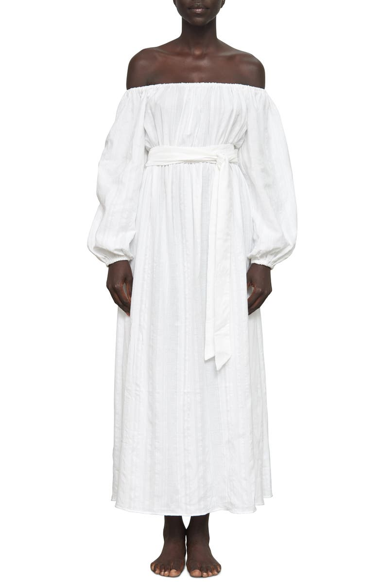 MARA HOFFMAN Malika Organic Cotton Off the Shoulder Cover-Up Maxi Dress, Main, color, WHITE